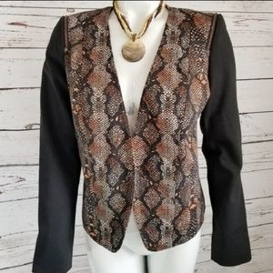 ELLEN TRACY SNAKESKIN BLAZER ZIPPER ACCENTS SMALL